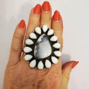 Tibetan Dendritic Opal Stone Ring- sz 7